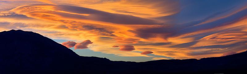 Lenticular cloud at sunset. Near Bishop, Clifornia