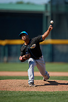 Akron RubberDucks pitcher Anthony Gose (15) during an Eastern League game against the Erie SeaWolves on June 2, 2019 at UPMC Park in Erie, Pennsylvania.  Erie defeated Akron 8-5 in eleven innings of the second game of a doubleheader.  (Mike Janes/Four Seam Images)