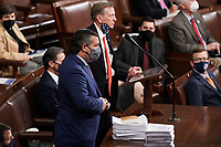 United States Senator Ted Cruz (Republican of Texas) seconds the objection to Arizona's Electoral College certification from the 2020 presidential election during a joint session of Congress on Wednesday, January 6, 2021.<br /> CAP/MPI/RS<br /> ©RS/MPI/Capital Pictures