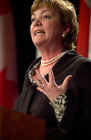 June 28, 2002, Montreal, Quebec, CANADA<br /> <br /> Sheila Copps., Canadian Heritage minister, speak on Globalizatin and preservation of cultural identity, at<br /> the closing lunch of the 8 th Conference of Montreal, June 26, 2002 in Montreal, CANADA<br /> <br /> (c) : 2002,Pierre Roussel