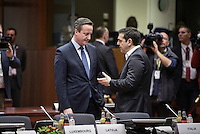 Pictured L-R: British Prime Minister David Cameron and Greek Prime Minister Alexis Tsipras Thursday 18 February 2016<br /> Re: David Cameron looks set to secure European Union deal on Britain's reforms during a summit in Brussels, Belgium.