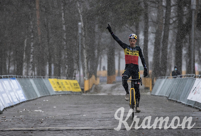 Belgian National Champion Wout van Aert (BEL/Jumbo-Visma) wins the Zilvermeercross 2021<br /> <br /> Elite Men's Race<br /> Zilvermeercross Mol (BEL) 2021<br /> <br /> ©Kramon