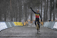 Belgian National Champion Wout van Aert (BEL/Jumbo-Visma) wins the Zilvermeercross 2021<br /> <br /> Elite Men's Race<br /> Zilvermeercross Mol (BEL) 2021<br /> <br /> ©Kramon