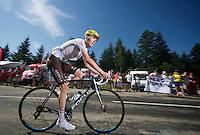 white jersey Romain Bardet (FRA/Ag2r-La Mondiale) up the final climb to Chamrousse (1730m/18.2km/7.3%)<br /> <br /> 2014 Tour de France<br /> stage 13: Saint-Etiènne - Chamrousse (197km)