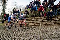 race leaders Jasper Stuyven (BEL/Trek-Segafredo) & Yves Lampaert (BEL/Deceuninck-QuickStep) side by side up the Kapelmuur / Muur van Geraardsbergen<br /> <br /> 75th Omloop Het Nieuwsblad 2020 (1.UWT)<br /> Gent to Ninove (BEL): 200km<br /> <br /> ©kramon