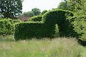 Archway in beech hedge, Vann House and Garden, Surrey, mid June.
