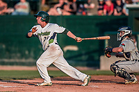 20 August 2017: Vermont Lake Monsters designated hitter Jordan Devencenzi hits an infield single in the 6th inning against the Connecticut Tigers at Centennial Field in Burlington, Vermont. The Lake Monsters rallied to edge out the Tigers 6-5 in 13 innings of NY Penn League action.  Mandatory Credit: Ed Wolfstein Photo *** RAW (NEF) Image File Available ***
