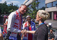 New York, New York - July 10, 2015:  The USWNT attend a ticker tape parade held in their honor in New York City after winning the FIFA Women's World Cup.