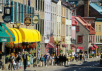 Boutiques and restaurants along Rue Saint-Louis in Vieux-Quebec. Quebec City, Quebec, Canada