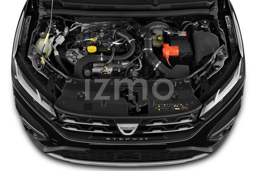 High angle engine detail of a 2021 Dacia Sandero Stepway Plus 5 Door Hatchback