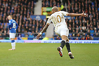 Andre Ayew celebrates scoring his sides second goal during the Barclays Premier League match between Everton and Swansea City played at Goodison Park, Liverpool. 2-1