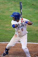 Jesmuel Valentin (6) of the Ogden Raptors at bat against the Orem Owlz at Lindquist Field on July 05, 2013 in Ogden Utah. (Stephen Smith/Four Seam Images)
