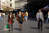 Belgrade, Serbia. People walking on the shopping street on sunny autumn afternoon.