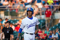 Byron Buxton (7) of the Chattanooga Lookouts looks on during a game between the Jackson Generals and Chattanooga Lookouts at AT&T Field on May 7, 2015 in Chattanooga, Tennessee. (Brace Hemmelgarn/Four Seam Images)