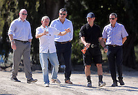 Pictured: Eddie Needham (2nd L), the grandfather of missing Ben Needham with DI Jon Cousins of South Yorkshire Police (L) and other officers in Kos, Greece. Wednesday 05 October 2016<br />Re: Police teams led by South Yorkshire Police, searching for missing toddler Ben Needham on the Greek island of Kos have moved to a new area in the field they are searching.<br />Ben, from Sheffield, was 21 months old when he disappeared on 24 July 1991 during a family holiday.<br />Digging has begun at a new site after a fresh line of inquiry suggested he could have been crushed by a digger.