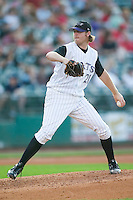 Louisville starting pitcher Phil Dumatrait (21) in action versus Charlotte at Louisville Slugger Field in Louisville, KY, Tuesday, June 5, 2007.