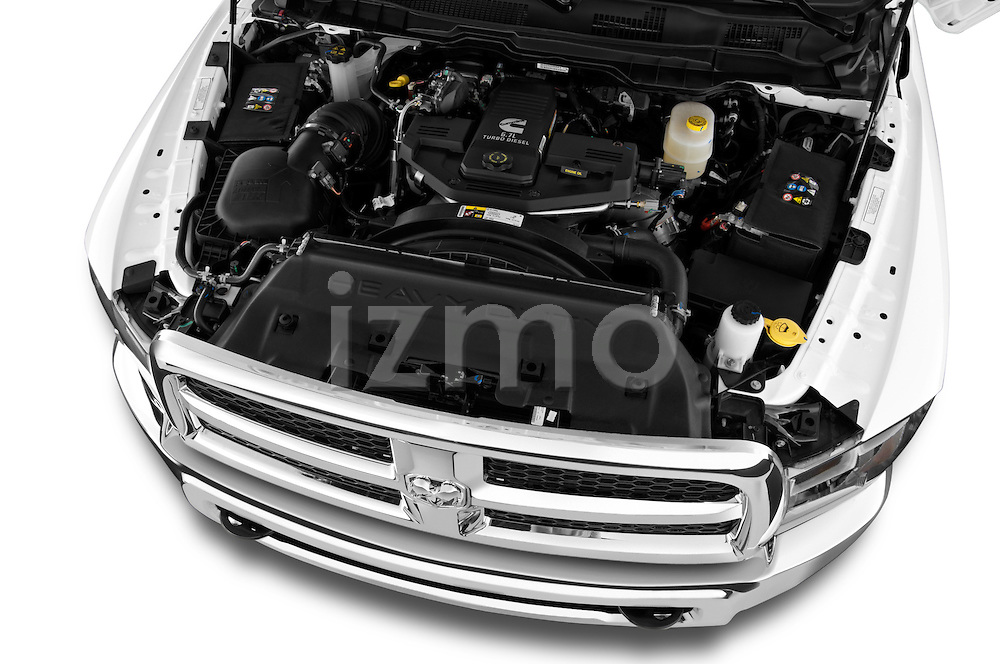 High angle engine detail of a  2013 Ram Ram 2500 SLT Crew Cab