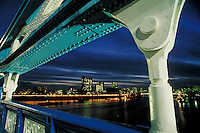 London, England from the Tower Bridge at night. London, England.