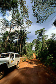 Juruena, Mato Grosso State, Brazil. Pro-Natura silviculture project; project vehicle on dirt road.