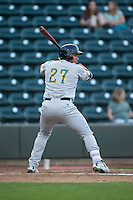 Anthony Santander (27) of the Lynchburg Hillcats at bat against the Winston-Salem Dash at BB&T Ballpark on April 28, 2016 in Winston-Salem, North Carolina.  The Dash defeated the Hillcats 4-1.  (Brian Westerholt/Four Seam Images)