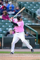 Rochester Red Wings designated hitter Nate Hanson #4 during a game against the Columbus Clippers on May 12, 2013 at Frontier Field in Rochester, New York.  Rochester defeated Columbus 5-4 wearing special pink jerseys for Mother's Day.  (Mike Janes/Four Seam Images)
