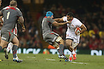 Samisoni Fisilau hands off Justin Tipuric.<br /> <br /> Dove Men Series 2013<br /> Wales v Tonga<br /> Millennium Stadium - Cardiff<br /> 22.11.13<br /> ©Steve Pope-SPORTINGWALES