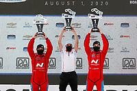 #33 Bryan Herta Autosport w/ Curb Agajanian Hyundai Veloster N TCR, TCR: Gabby Chaves, Ryan Norman, podium with team owner Bryan Herta