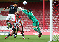 Macauley Bonne scores Charlton's opening goal with a fine header during Brentford vs Charlton Athletic, Sky Bet EFL Championship Football at Griffin Park on 7th July 2020