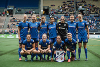 Seattle, WA - Thursday, May 26, 2016: Seattle Reign FC Starting Eleven. The Seattle Reign FC of the National Women's Soccer League (NWSL) and the Arsenal Ladies FC of the Women's Super League (FA WSL) played to a 1-1 tie during an international friendly at Memorial Stadium.