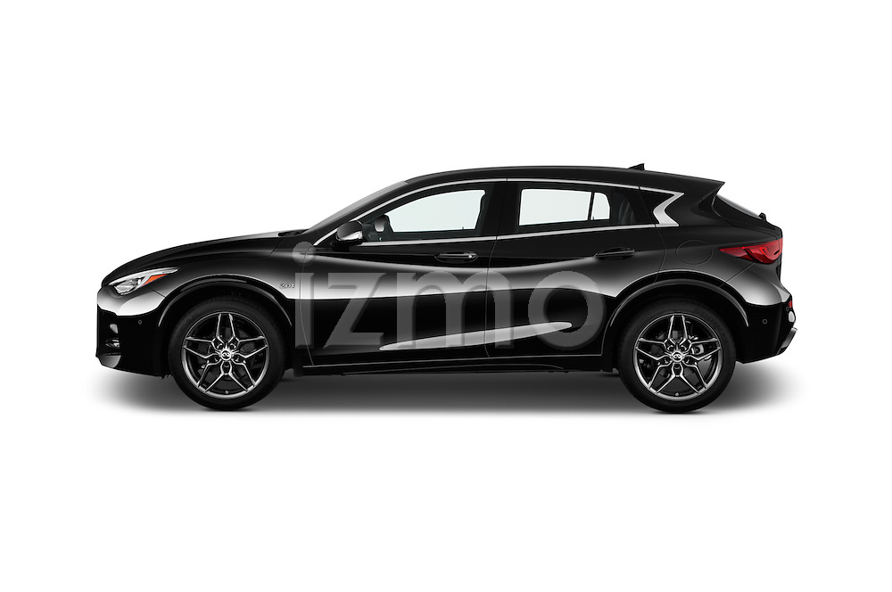 Car Driver side profile view of a 2018 Infiniti QX30 Sport 5 Door SUV Side View
