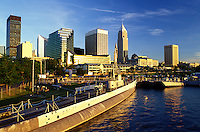 Cleveland, skyline, OH, Ohio, Downtown skyline of Cleveland, USS Cod Submarine Museum, Lake Erie
