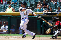 Roberto Lopez (30) of the Salt Lake Bees at bat against the Nashville Sounds in Pacific Coast League action at Smith's Ballpark on June 22, 2014 in Salt Lake City, Utah.  (Stephen Smith/Four Seam Images)