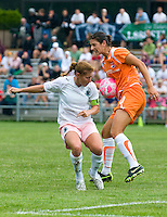 Sky Blue FC midfielder Yael Averbuch (10) blocks a pass from St. Louis Athletica midfielder Lori Chalupny (17) during a WPS match at Anheuser-Busch Soccer Park, in St. Louis, MO, June 7, 2009.