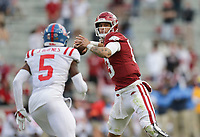 Arkansas quarterback Feleipe Franks (13) throws a pass, Saturday, October 17, 2020 during the fourth quarter of a football game at Donald W. Reynolds Razorback Stadium in Fayetteville. Check out nwaonline.com/201018Daily/ for today's photo gallery. <br /> (NWA Democrat-Gazette/Charlie Kaijo)