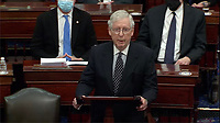 In this image from United States Senate television, United States Senate Majority Leader Mitch McConnell (Republican of Kentucky) makes remarks as the US Senate reconvenes to resume debate on the Electoral Vote count following the violence in the US Capitol in Washington, DC on Wednesday, January 6, 2021.<br /> Mandatory Credit: US Senate Television via CNP/AdMedia