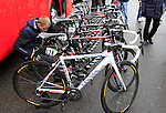 Katusha Team Canyon bikes lined up at the start of the 104th edition of the Milan-San Remo cycle race at Castello Sforzesco in Milan, 17th March 2013 (Photo by Eoin Clarke 2013)