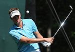1 September 2008: Jeff Overton hits a chip shot at the Deutsche Bank Golf Championship in Norton, Massachusetts.
