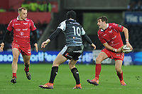 Dan Jones of Scarlets in action during the Guinness Champions Cup play-off match between the Ospreys and Scarlets at the Liberty Stadium in Swansea, Wales, UK.  Saturday 18 May 2019