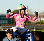 March 2010:  David Flores celebrates after winning the 1st running of the New Orleans Ladies at the Fairgrounds in New Orleans, La.