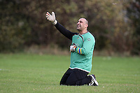 The FC Polit goalkeeper pleads to the referee during a Hackney & Leyton Sunday League match at Hackney Marshes - 25/10/09 - MANDATORY CREDIT: Gavin Ellis/TGSPHOTO - Self billing applies where appropriate - Tel: 0845 094 6026