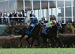 November 3, 2018: Stormy Liberal #9, ridden by Drayden Van Dyke, races to pull ahead of World of Trouble #11, ridden by Irad Ortiz, Jr. during the Breeders' Cup Turf Sprint on Breeders' Cup World Championship Saturday at Churchill Downs on November 3, 2018 in Louisville, Kentucky. Casey Phillips/Eclipse Sportswire/CSM