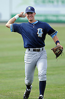 Infielder Alex McClure (8) of the Wilmington Blue Rocks, Carolina League affiliate of the Kansas City Royals, prior to a game against the Lynchburg Hillcats on June 15, 2011, at City Stadium in Lynchburg, Va. (Tom Priddy/Four Seam Images)