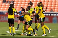 HOUSTON, TX - JUNE 10: Havana Solaun #6 celebrates with Deneisha Blackwood #14 and Cheyna Matthews #20 of Jamaica during a game between Nigeria and Jamaica at BBVA Stadium on June 10, 2021 in Houston, Texas.