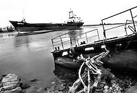 - Delta del Danubio, Crisan, Un grosso cargo naviga lungo il braccio di Sulina. L'inquinamento delle acque del Danubio deriva da moltiplici fattori: tra i più importanti la navigazione mercantile e gli scarichi industriali che vengono scaricati nel fiume durante il suo corso di 2.900 chilometri attraverso dieci paesi..- Danube Delta Area, Crisan. A big cargo cruising along Sulina branch..Danube water pollution results from multiple reasons: ships navigation, industrial and sewer dumping that flow into the river along its course of 2.900 kilometres that crosses ten countries.