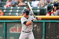 Joe Panik (2) of the Fresno Grizzlies at bat against the Salt Lake Bees at Smith's Ballpark on April 9, 2014 in Salt Lake City, Utah.  (Stephen Smith/Four Seam Images)