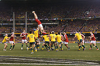 MELBOURNE, 29 JUNE 2013 - The Lions win a line out during the Second Test match between the Australian Wallabies and the British & Irish Lions at Etihad Stadium on 29 June 2013 in Melbourne, Australia. (Photo Sydney Low / sydlow.com)