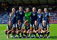 July 25, 2012..Group photo of the United States Women's National Team before USA vs France Football match during 2012 Olympic Games at Hampden Park in Glasgow, England. USA defeat France 4-2 after conceding two goals in the first half of the match...(Credit Image: © Mo Khursheed/TFV Media)