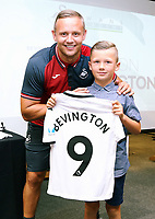 Pictured: Lee Trundle with young player. Thursday 06 July 2017<br /> Re: Swansea City FC Academy U9 signings at the Liberty Stadium, Wales, UK
