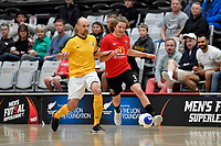 Charlie  Bayly of Canterbury and Miroslav Malivuk of Capital during the Men's Futsal SuperLeague, Canterbury United Futsal Dragons v Capital Futsal at ASB Sports Centre, Wellington on Saturday 31 October 2020.<br /> Copyright photo: Masanori Udagawa /  www.photosp ort.nz
