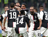 Calcio, Serie A: Inter Milano - Juventus, Giuseppe Meazza stadium, October 6 2019.<br /> Juventus' players celebrate after winning 2-1  the Italian Serie A football match between Inter and Juventus at Giuseppe Meazza (San Siro) stadium, October 6, 2019.<br /> UPDATE IMAGES PRESS/Isabella Bonotto